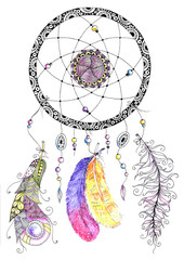 Watercolor dreamcatcher with beads and feathers