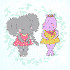 Hippo and elephant girls with closed eyes having a flower wreath on the head