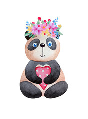 Watercolor panda with flowers and heart.