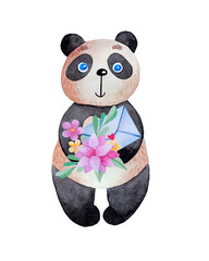 Cartoon panda with flowers and envelope.