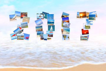 2017 Happy New Year. Holidays.Celebration. All letters and numbers are made of Mediterranean sea coast landscapes. Sea surf. Magic seaside blur background