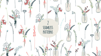 Long flowers seamless patterns.