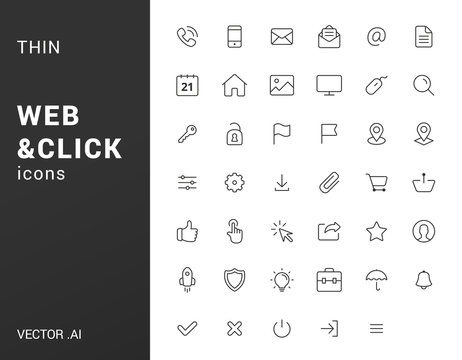Pack of line web icons.