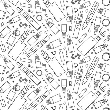 Vector seamless pattern for vape shop and vape service, e-cigarette store. Wrapping paper pattern on white background