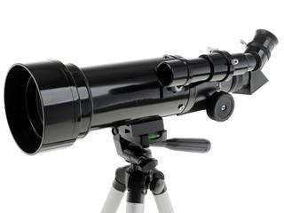 Optical telescope on white background