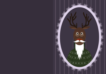 greeting card with deer in the older glasses, a sweater and a beard and mustache. Christmas background