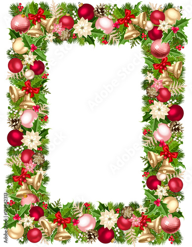 Vector christmas frame with green red pink and silver for Poinsettia christmas tree frame