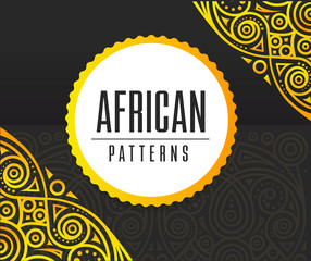 Vector African Golden pattern on black background