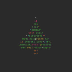 Christmas tree made of programming code in Ruby language