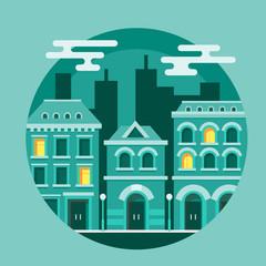 Vector illustration circle city