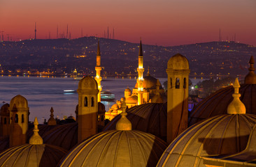 Sunrise over Bosphorus, a view from Suleymaniye Mosque, Istanbul, Turkey