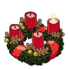 Adventskranz mit Schleife und Eicheln 1. Advent