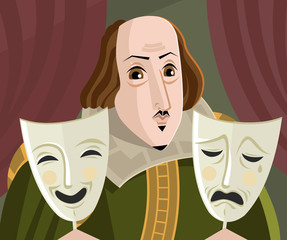 great english playwriter with sad and happy theater masks