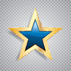 one gold blue star