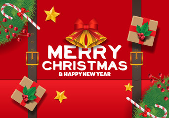 xmas top view decor vector