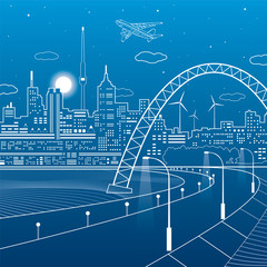 Highway under the bridge. Night city on a background, neon town, towers and houses on skyline, infrastructure illustration, airplane fly, vector design art