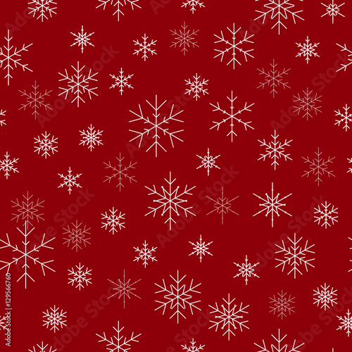 Christmas Wallpaper Background.Christmas Seamless Pattern With Snowflakes Red Background