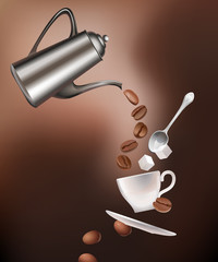 Coffee pot, beans, cup, saucer, spoon and sugar lumps