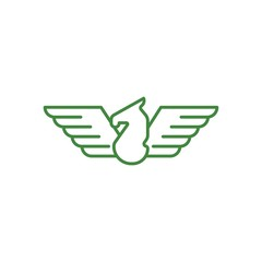 Wing Pegasus Vector Logo Design Element