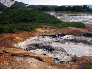 Kamchatka, Russia. The Valley of Geysers. Action geyser. Kronotsky Biosphere Reserve.