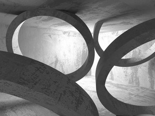 Concrete dark empty room interior. Geometric minimalistic archit