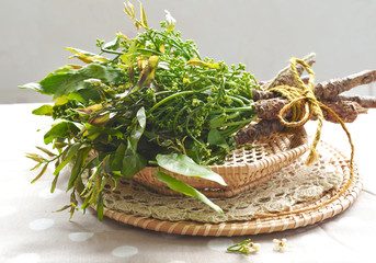 Neem leaves and flower in a basket