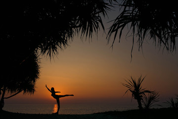 silhouette of a young and graceful woman near palm trees