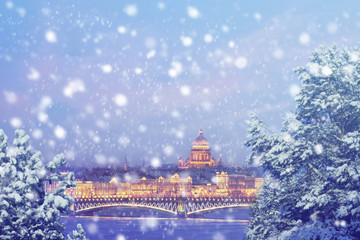 Winter in Russia. Christmas background : Saint Petersburg at winter evening. Vintage colored picture. X-mas, New Year, Europe, Love and travel concept.