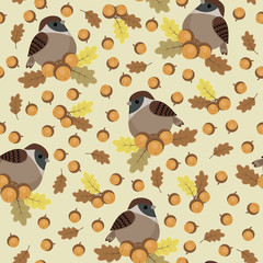 Sparrows and acorns seamless pattern
