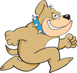 Cartoon illustration of a bulldog running.