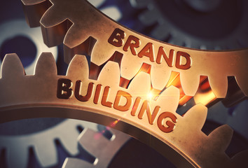 Brand Building on Golden Gears. 3D Illustration.