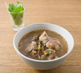 Thai Spicy Beef Entrails Soup with Sweet Basil