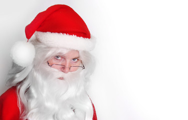 Santa Claus face on white background. Picture for christmas greeting card or gift label.