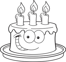Black and white illustration of a smiling cake with candles.