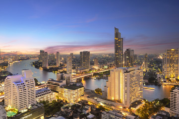 Beautiful Twilight Above Bangkok city Thailand