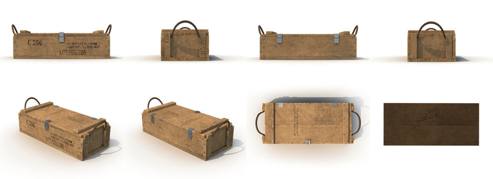 military old case box renders set from different angles on a white. 3D illustration