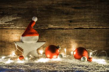 Weihnachten Karte Grußkarte Weihnachtskarte Dekoration mit Santa Mütze, Stern, Licht und Weihnachtskugeln