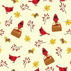 Autumn seamless pattern with cardinal bird