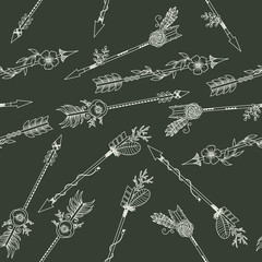 Hand drawn boho arrows seamless pattern
