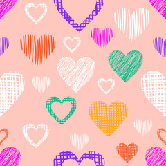 Seamless vector  geometrical pattern with hearts. Pink endless background with  hand drawn textured geometric figures. Graphic  illustration Template for wrapping, web backgrounds, wallpaper