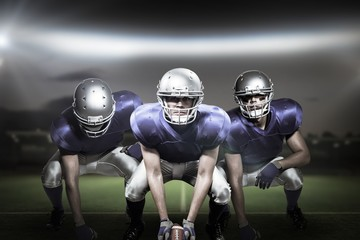 Composite image of american football players 3D