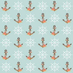 Floral anchor seamless pattern