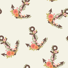 Floral anchors on cream background seamless pattern