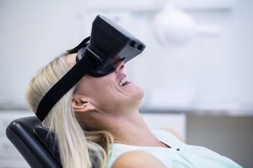 Woman using virtual glasses