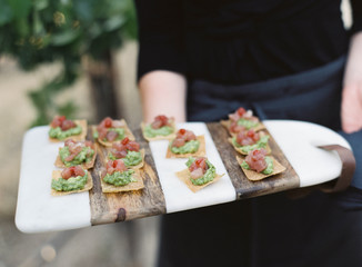 Person serving canapes at wedding reception