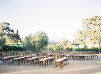 Chairs arranged in rows for wedding ceremony