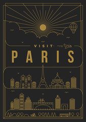 Linear Travel Paris Poster Design