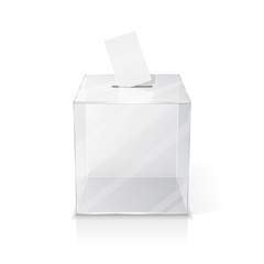 Realistic empty transparent ballot box with blank voting paper. Illustration on white background