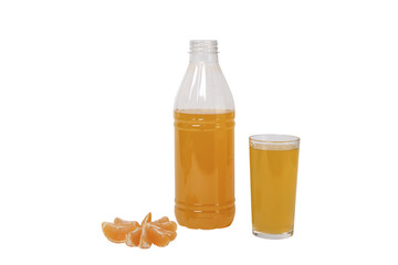glass and a bottle of orange juice isolated on white background