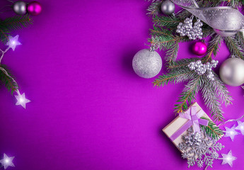 Christmas Purple.Purple Christmas Background With A Present Buy This Stock